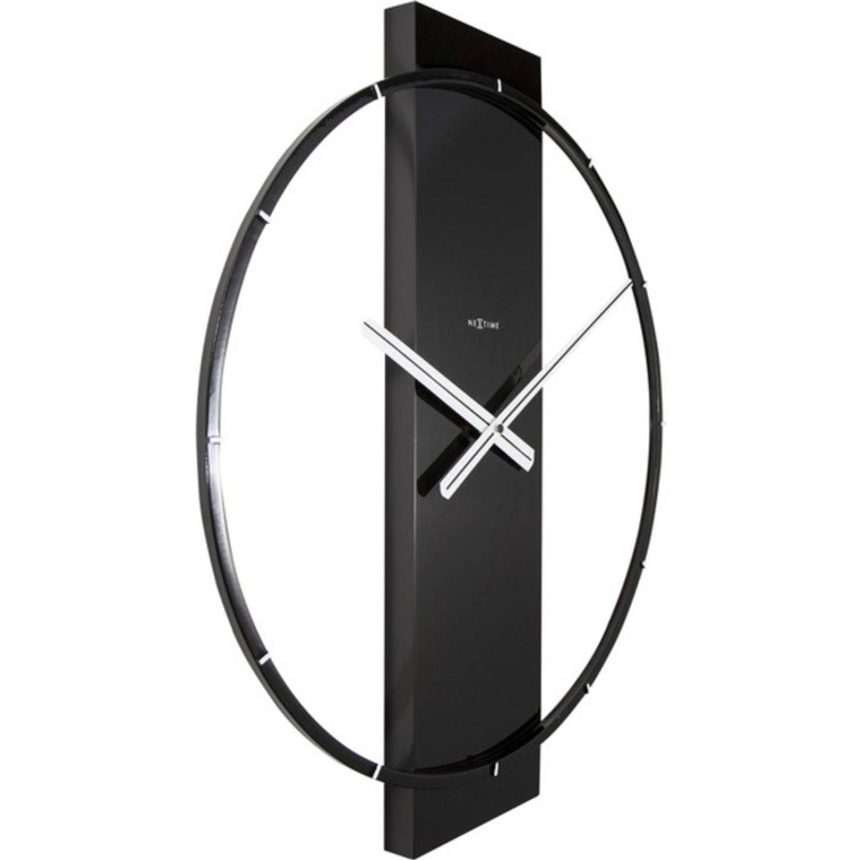 Wandklok NeXtime 50.8x58.2x4.3, hout/Steel, zwart