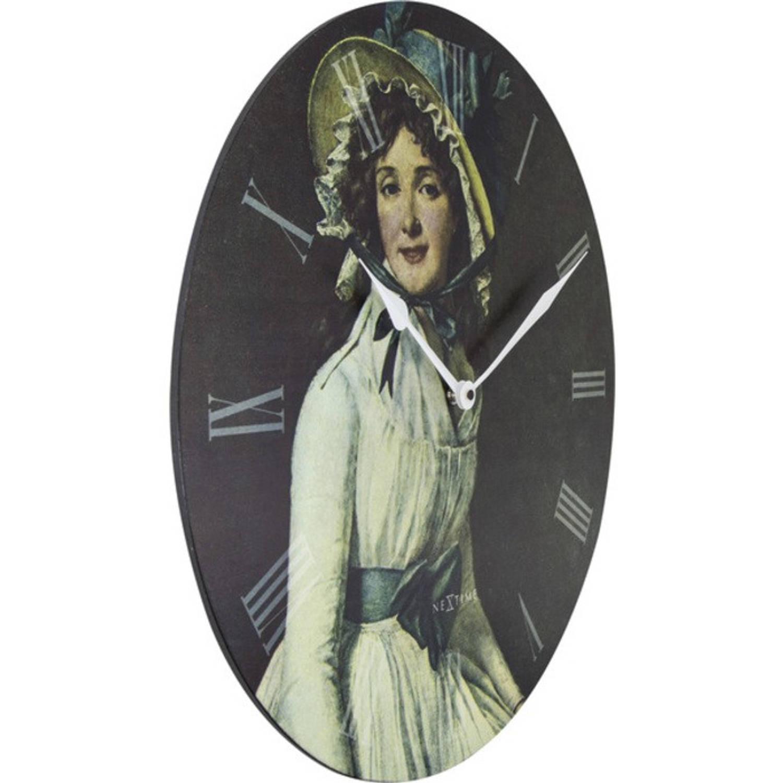 Wandklok NeXtime dia. 50 cm, hout, 'Portrait of Mrs Serizy'