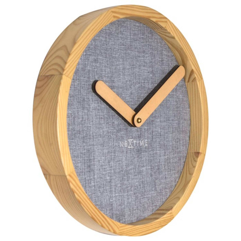 Wandklok NeXtime dia. 30 cm, hout & stof, grijs, 'Calm'
