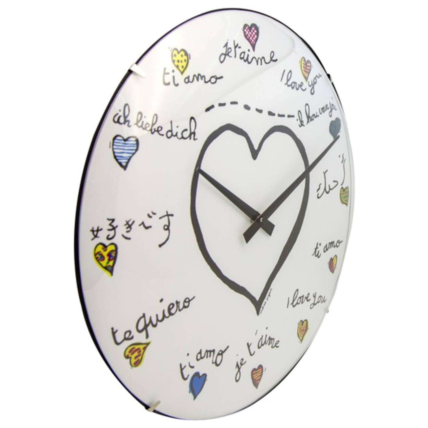 Wandklok NeXtime dia. 35 cm, bol glas, wit, 'Loving you Dome'
