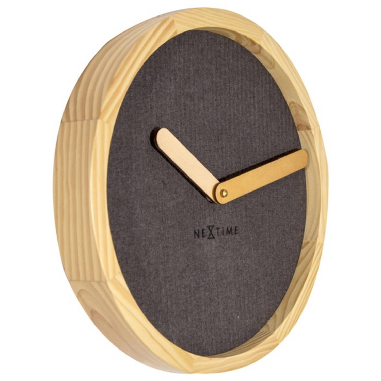 Wandklok NeXtime dia. 30 cm, hout & stof, bruin, 'Calm'