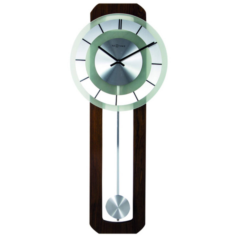 Wandklok NeXtime 32 x 80 cm, melkglas & hout, 'Retro Pendulum'