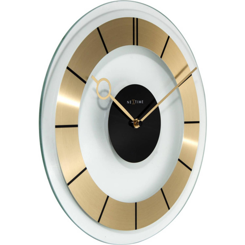 Wandklok NeXtime dia. 31 cm, glas, goud, 'Retro'