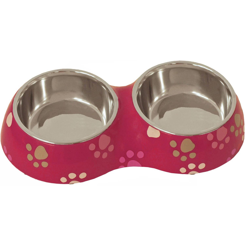 Girls plastic/RVS eetbak hond en kat dubbel 27 cm