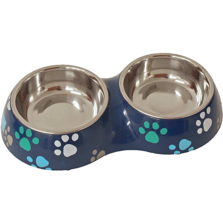 Boys plastic/RVS eetbak hond en kat dubbel 27 cm