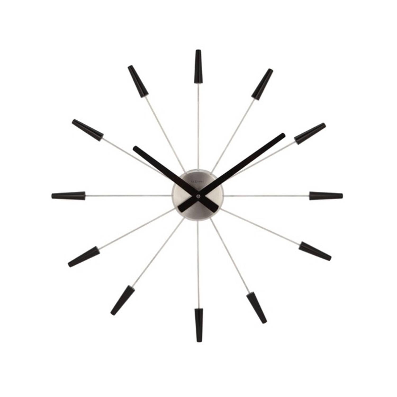 Wandklok Nextime dia. 58 cm, metaal, zwart, 'Plug inn'