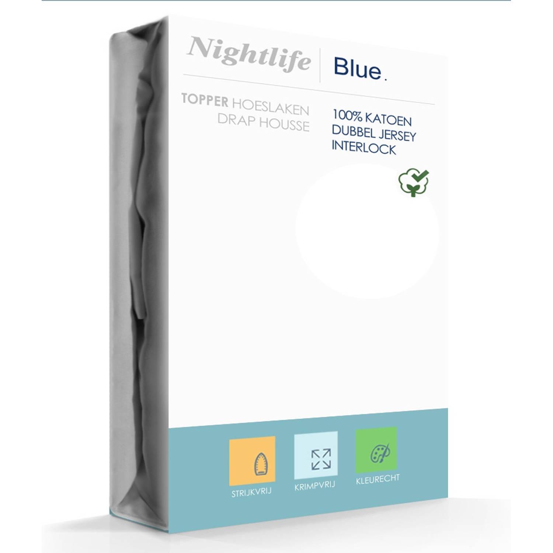 Nightlife Double Jersey Topper hoeslaken White-90/100 x 200/220 cm