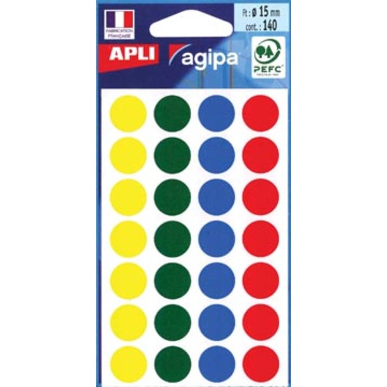 Korting Agipa Ronde Etiketten In Etui Diameter 15 Mm, Geassorteerde Kleuren, 140 Stuks, 28 Per Blad