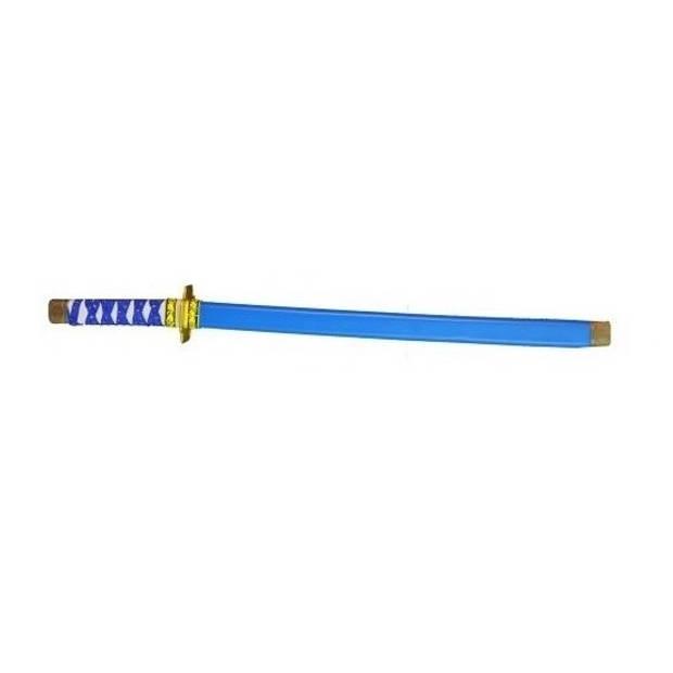 Blauw plastic ninja/ samurai zwaard 60 cm