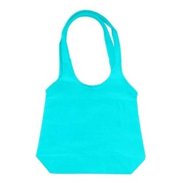 Turquoise opvouwbare tas met hengsels 43 x 41 cm - Shopper
