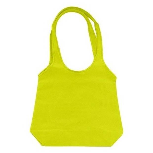 Limegroene opvouwbare tas met hengsels 43 x 41 cm - Shopper