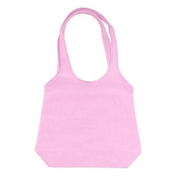 Roze opvouwbare tas met hengsels 43 x 41 cm - Shopper