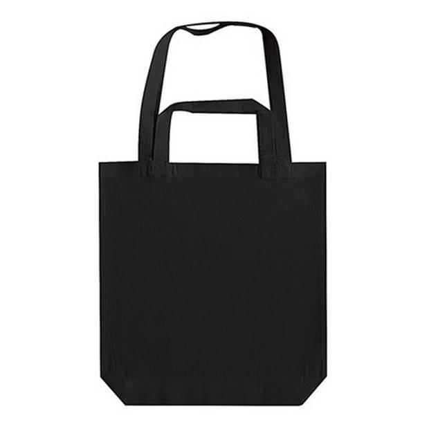 Zwarte canvas tas met dubbel hengsel 38 x 42 cm- Bedrukbare katoenen tas/shopper