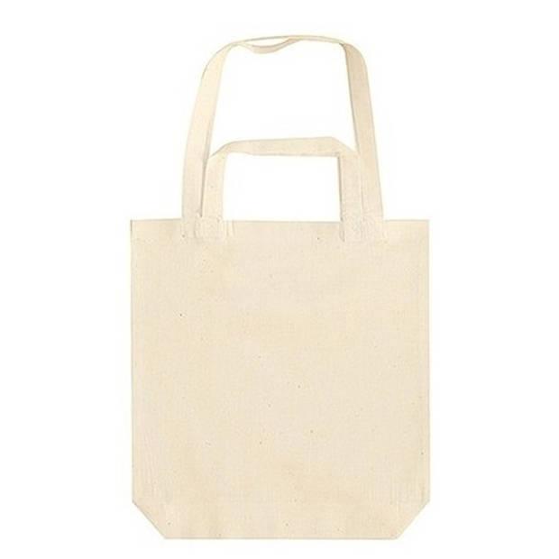 Beige canvas tas met dubbel hengsel 38 x 42 cm - Bedrukbare katoenen tas/shopper