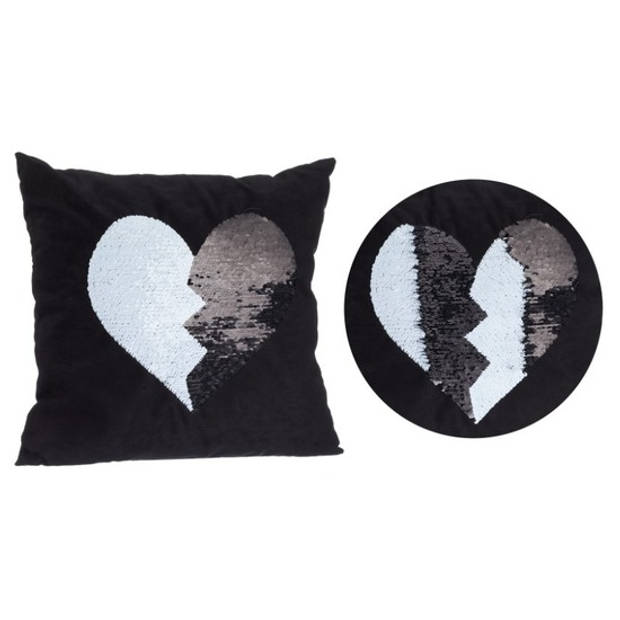 Zwart kussen met zwart/witte omkeerbare pailletten 40 x 40 cm