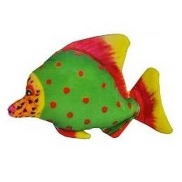 Tropische pluche knuffel vis groen met rode stippen 25 cm