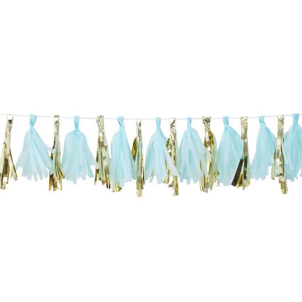 Kwasten slinger - Blauw & goud (2 meter)