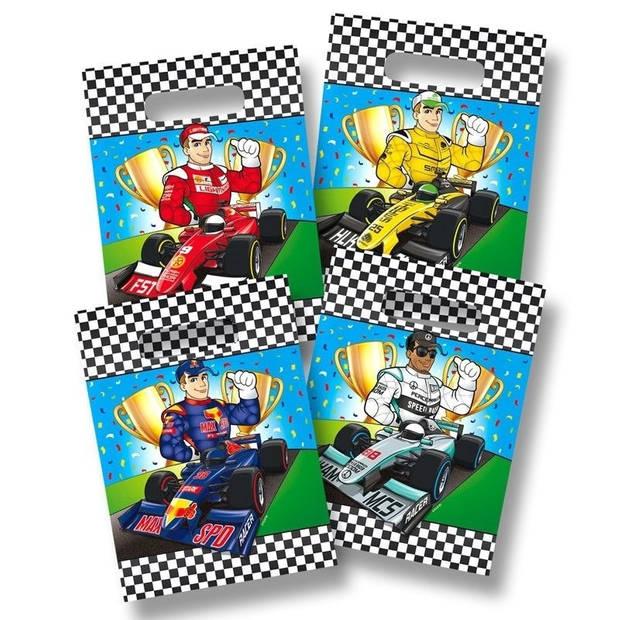 8x stuks Race/Formule 1 thema feestzakjes/snoepzakjes/uitdeelzakjes 18 x 28 cm