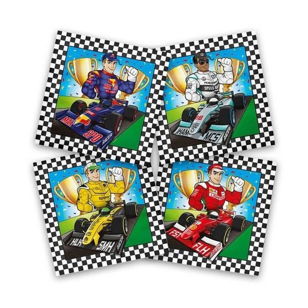 20x Race/Formule 1 themafeest servetten gekleurd 33 x 33 cm papier - Kinderfeestje papieren wegwerp tafeldecoraties
