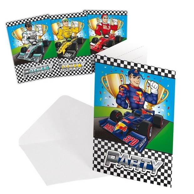 8x Race/Formule 1 thema uitnodigingen.