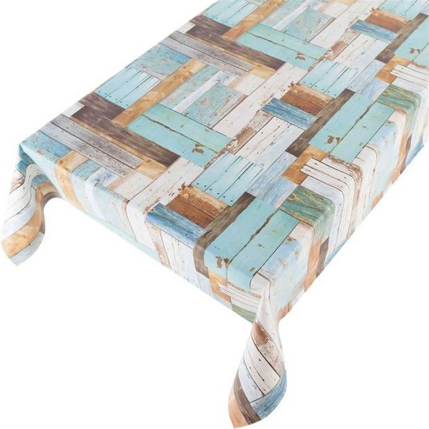 Buiten tafelkleed/tafelzeil blauwe houten planken 140 x 245 cm - Rechthoekig - Tuintafelkleed tafeldecoratie