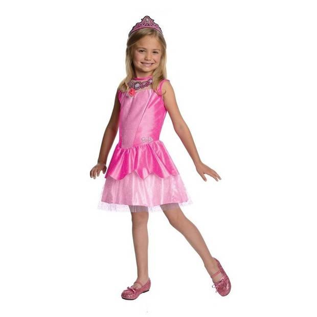 Roze prinsessen jurkje/jurk voor meisjes met tiara - prinsessen verkleedkleding/carnavalkostuum 3-5 jaar (98-110 cm)