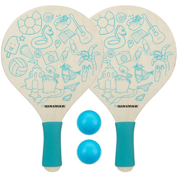Waimea beachball set Paradise 4-delig blauw