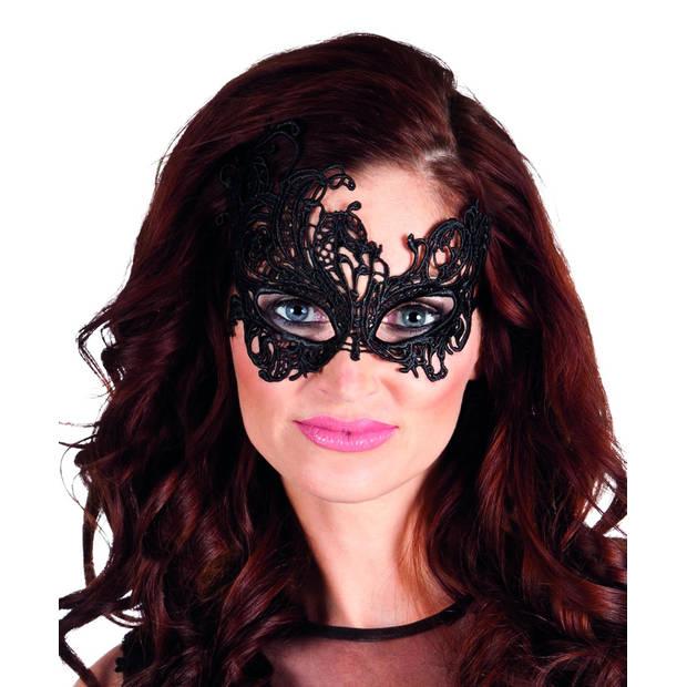 Boland verkleedmasker kant Masquerade dames zwart one size