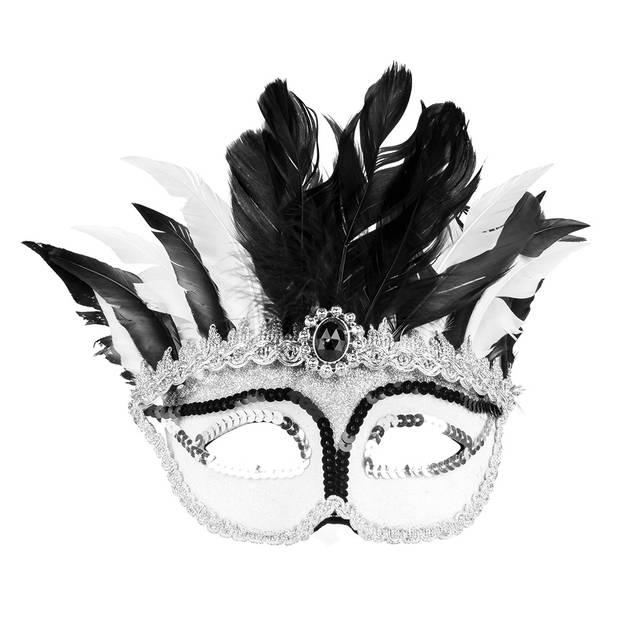 Boland verkleedmasker Venice Gazza dames zwart/wit one size
