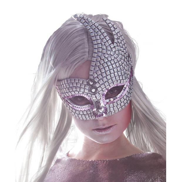 Boland verkleedmasker Venice Brillanti dames zilver one size