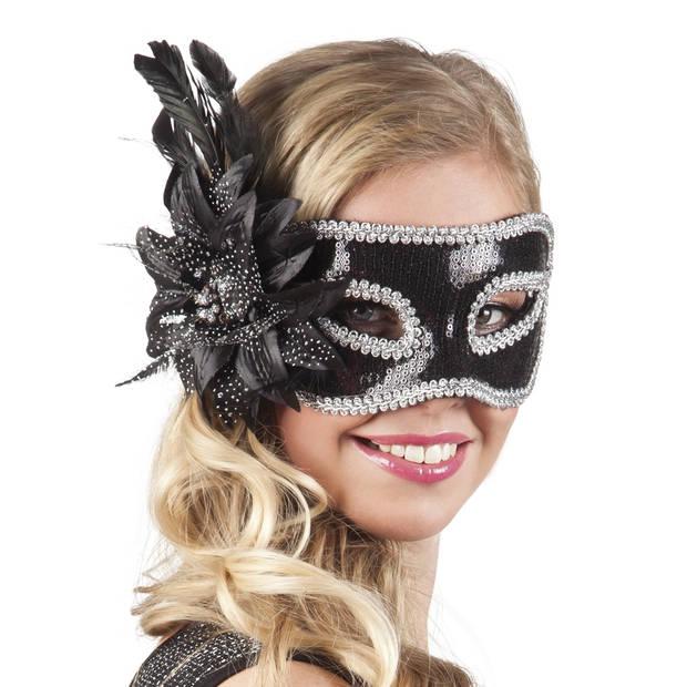 Boland verkleedmasker Venice Fiore dames zwart one size