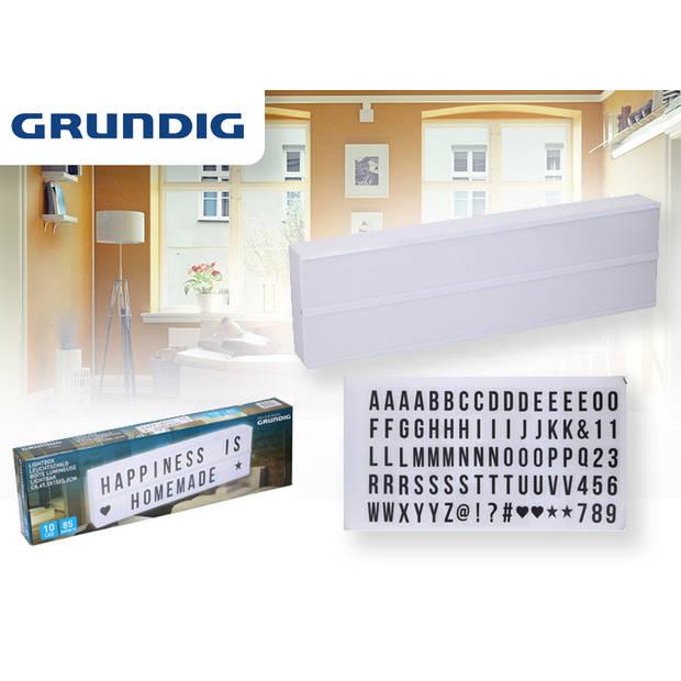 Grundig Led Lightbox - 50 x 15 x 5 cm - incl. 85 letters en symbolen - Wit