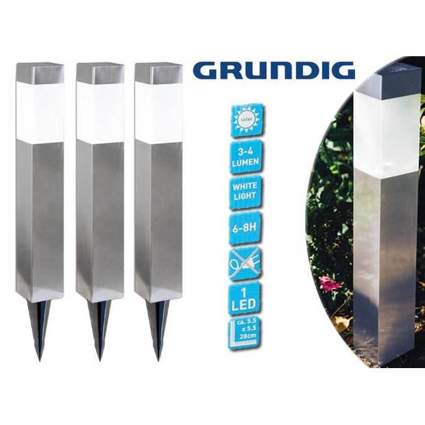 Grundig - Solar Tuinlampen - set van 3 - LED - 39 cm x 55 cm