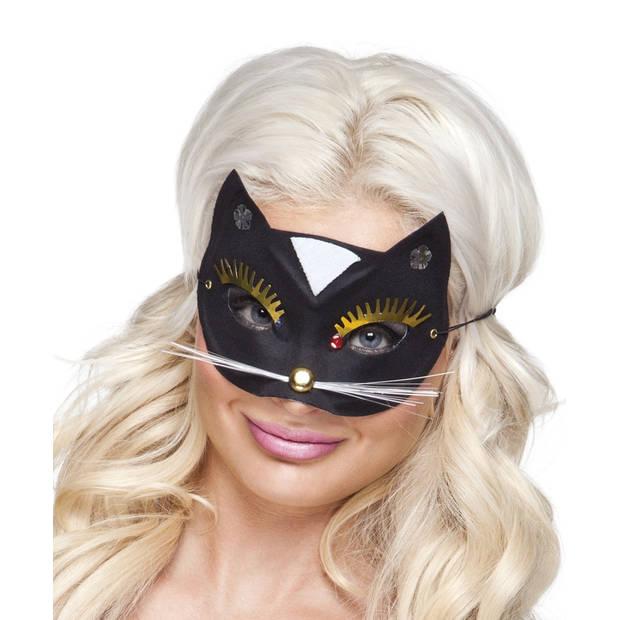 Boland verkleedmasker Kat dames zwart one size