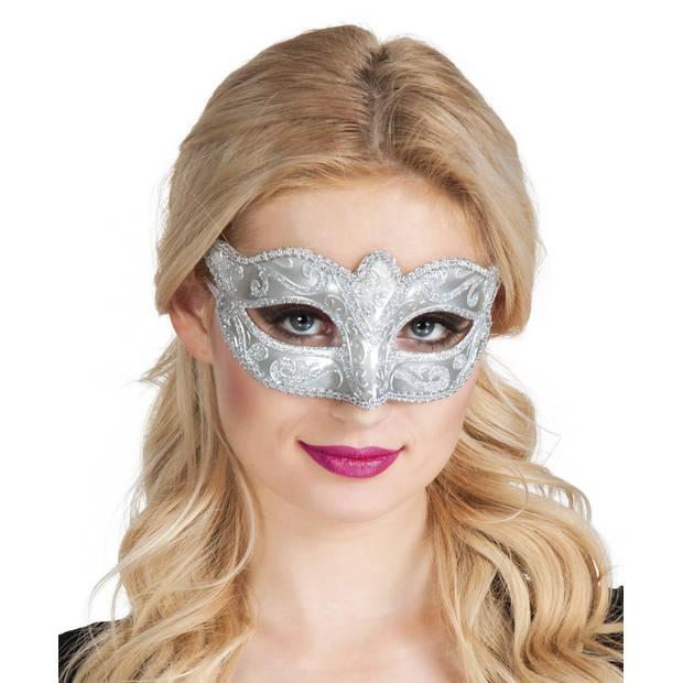 Boland verkleedmasker Venice Felina dames zilver one size
