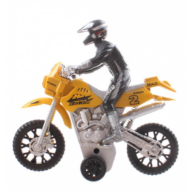 Jonotoys motor met bestuurer Make Haste geel 14 cm