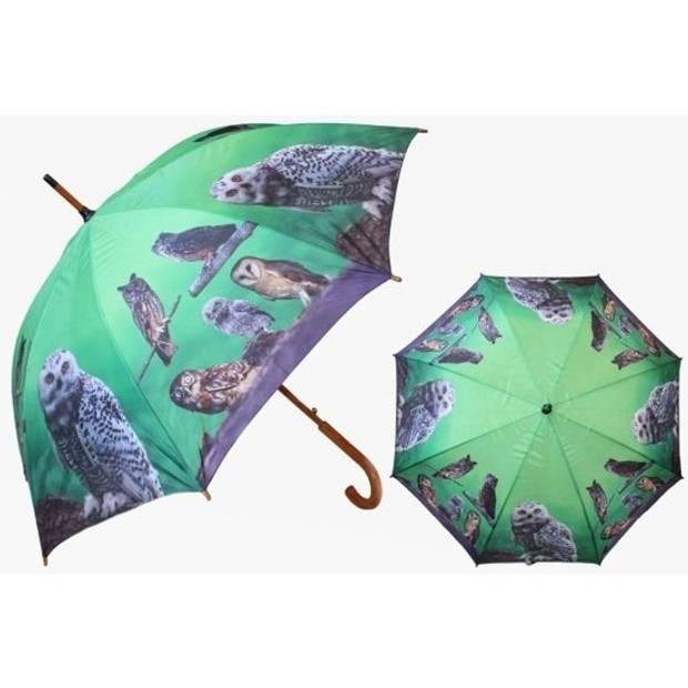 Groene paraplu met uilen 101 cm
