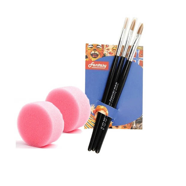 2 schmink sponsjes en 3 schmink penselen