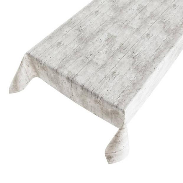 Buiten tafelkleed/tafelzeil grijs steigerhout 140 x 170 cm - Rechthoekig - Tuintafelkleed tafeldecoratie