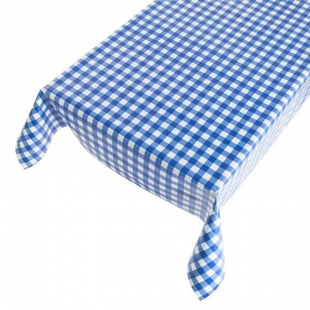 Buiten tafelkleed/tafelzeil blauwe ruiten 140 x 170 cm - Rechthoekig - Tuintafelkleed tafeldecoratie