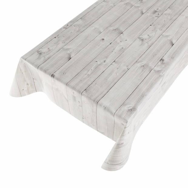 Buiten tafelkleed/tafelzeil grijze planken 140 x 170 cm - Rechthoekig - Tuintafelkleed tafeldecoratie