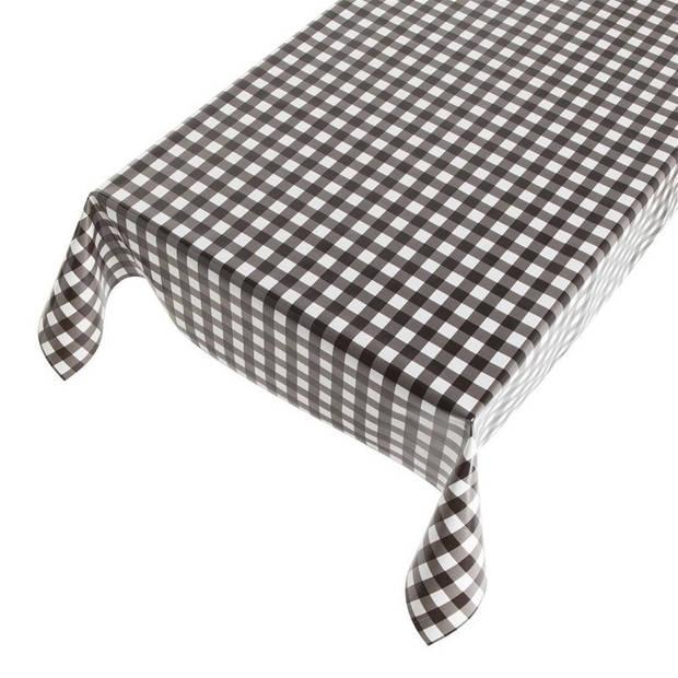 Buiten tafelkleed/tafelzeil zwarte ruiten 140 x 170 cm - Rechthoekig - Tuintafelkleed tafeldecoratie