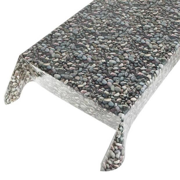 Buiten tafelkleed/tafelzeil gekleurde stenen 140 x 170 cm - Rechthoekig - Tuintafelkleed tafeldecoratie