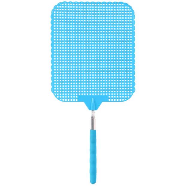 Blauwe uitschuifbare vliegenmepper 76 cm