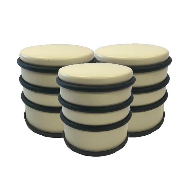 3x Gele ronde deurstoppers met rubberen bescherming - 7 x 7.5 cm - 1 kg - gele deurstop