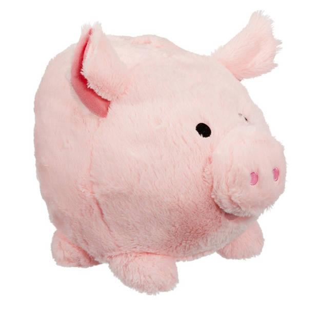 Pluche spaarpot varken met geluid 25 cm