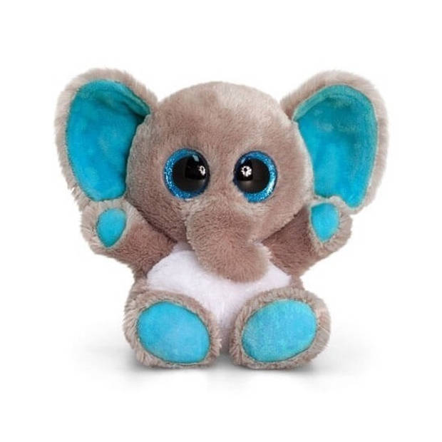 Keel Toys pluche olifant knuffel grijs/blauw 15 cm