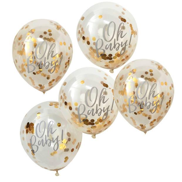 Ballonnen - Oh Baby gevuld met gouden confetti (5 stuks)