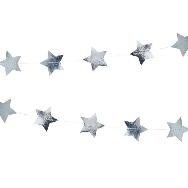 Zilveren sterren slinger (5 meter)