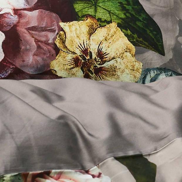Essenza Fleur dekbedovertrek - 100% katoen-satijn - 2-persoons (200x200/220 cm + 2 slopen) - 2 stuks (60x70 cm) - Grijs
